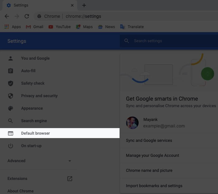 Click on Default Browser in Chrome Settings on Mac