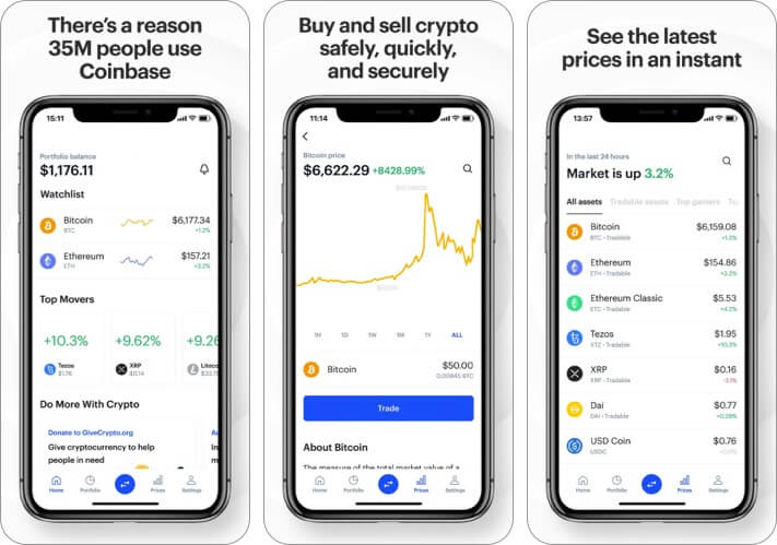 Coinbase Cryptocurrency iPhone and iPad App Screenshot