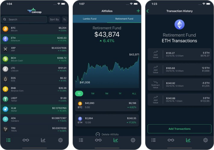 CoinCap Cryptocurrency iPhone and iPad App Screenshot