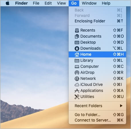 From Finder on Mac Click on Go and then Home