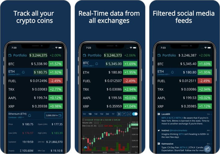 HODL Real-Time Cryptocurrency iPhone and iPad App Screenshot