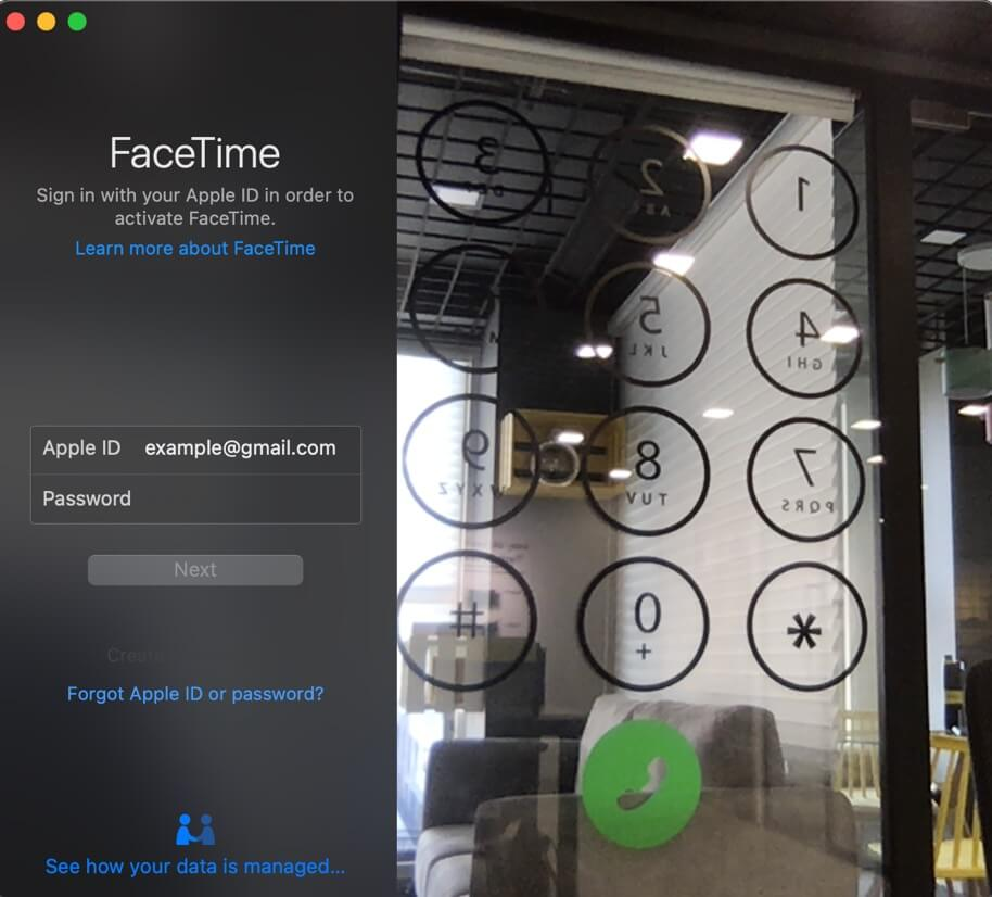 Launch FaceTime Enter Apple ID Password and Sign In