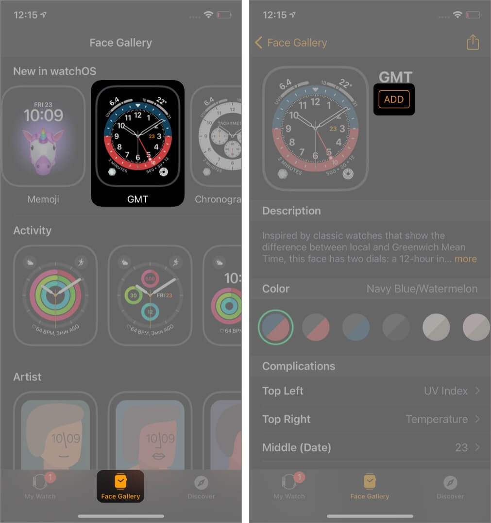 Open iOS Watch App tap on Face Gallery and Add GMT Watch Face