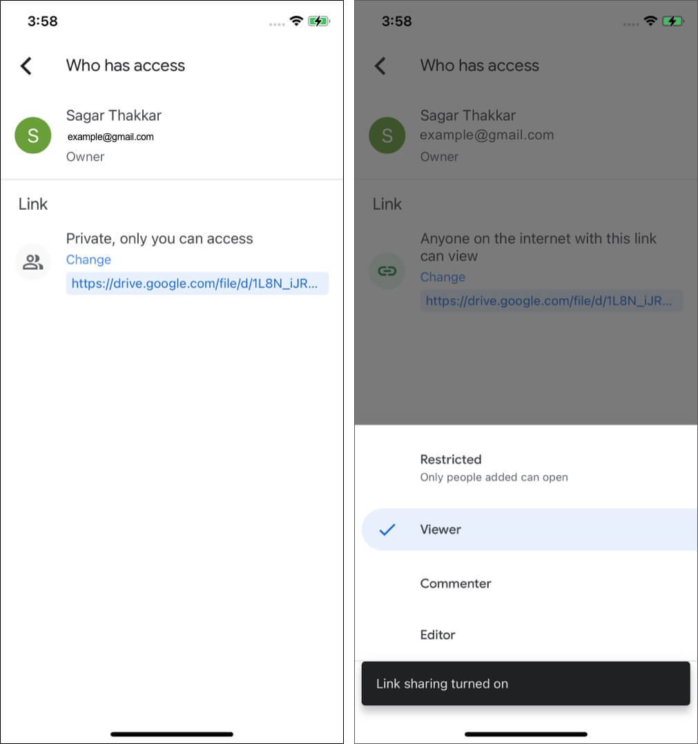 Switch File Sharing Options in Google Drive