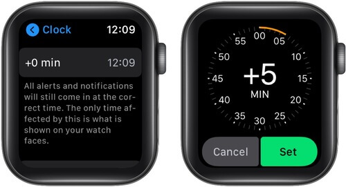 Tap 0 Min Increase Apple Watch Time and Tap Set