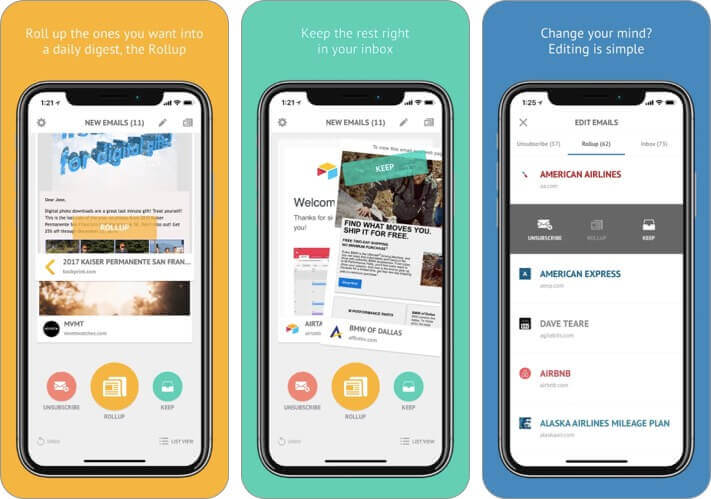 unroll-me iPhone and iPad App Screenshot
