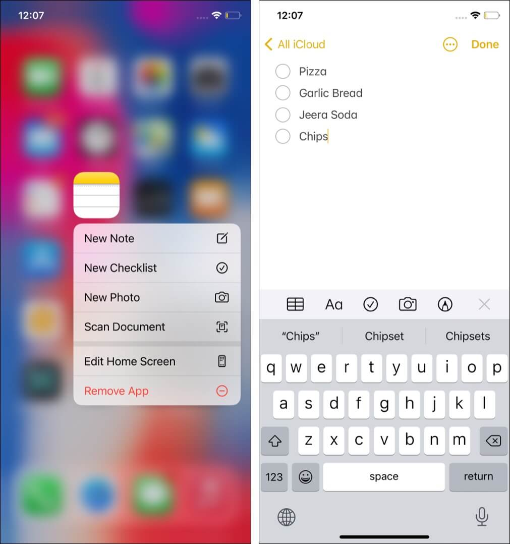 Create a checklist in Apple Notes App