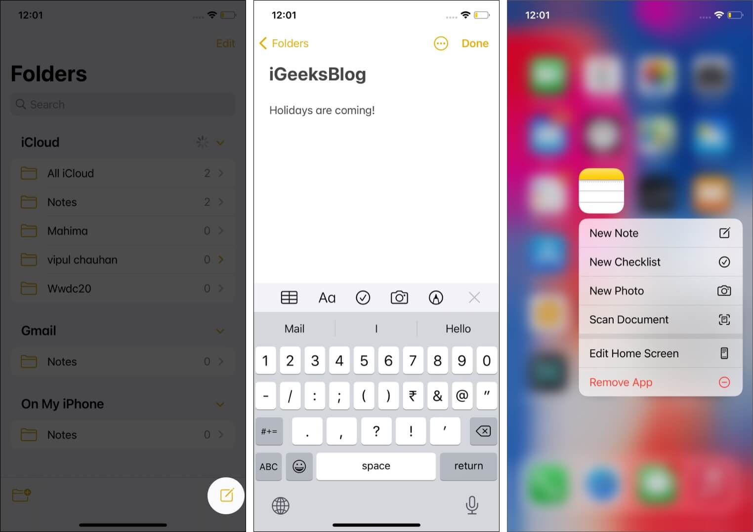 Create a new note in apple notes app