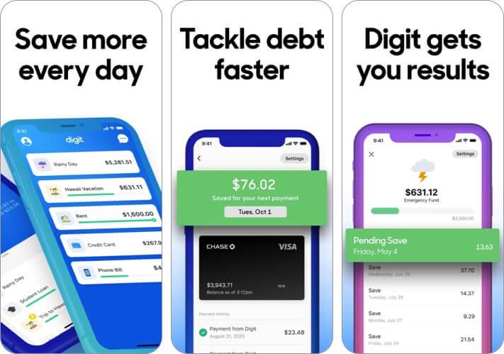 Digit Sparen Sie Geld iPhone und iPad App Screenshot