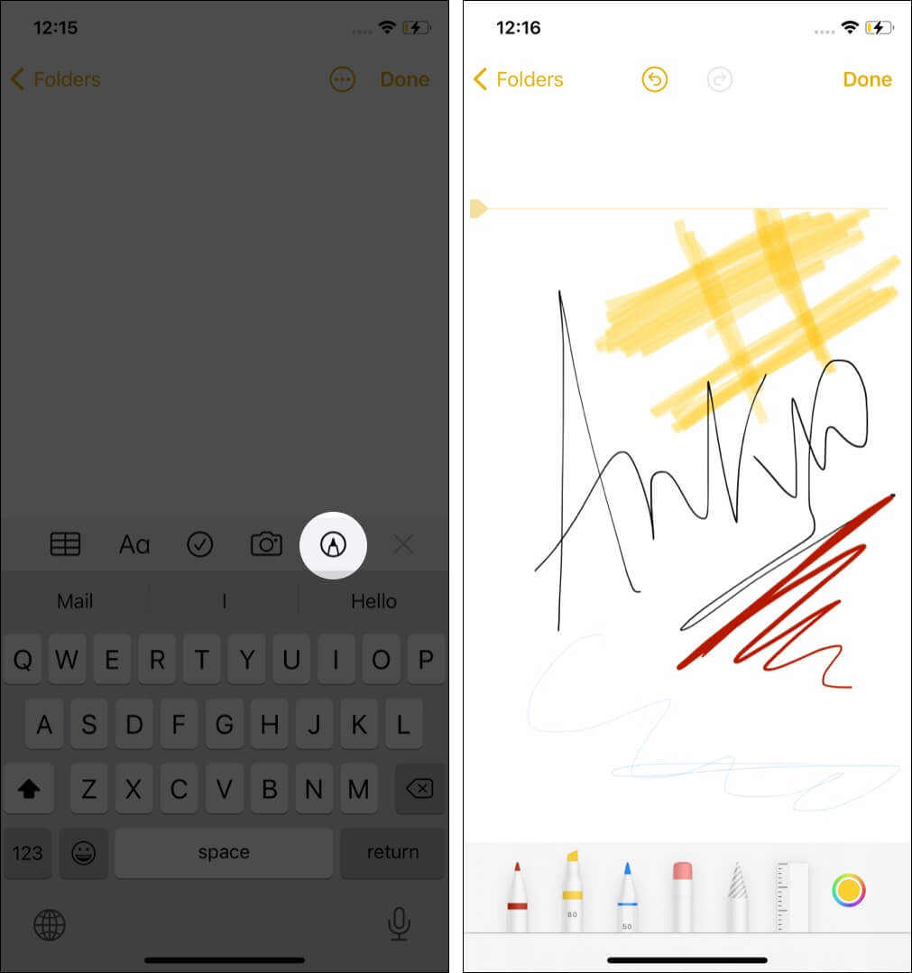 Draw and sketch inside notes app on iPhone and iPad