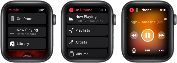 In Apple Watch Music app tap On iPhone then Now Playing