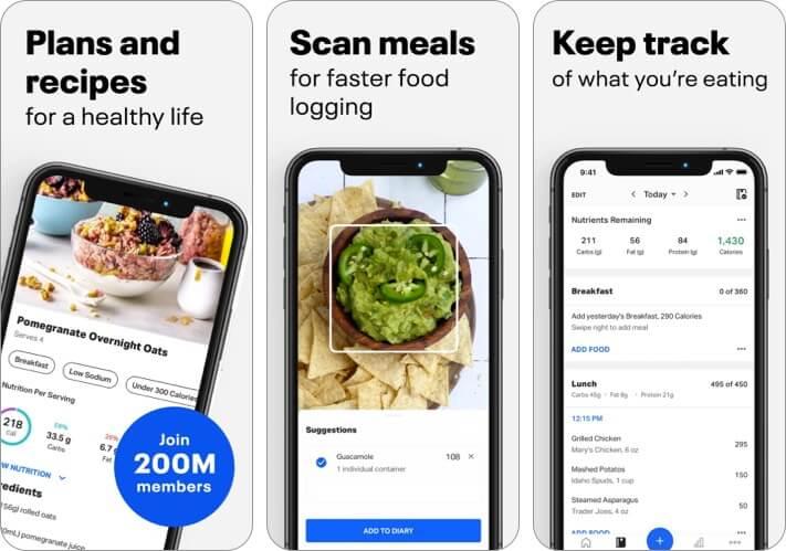 Screenshot der MyFitnessPal iPhone- und iPad-App