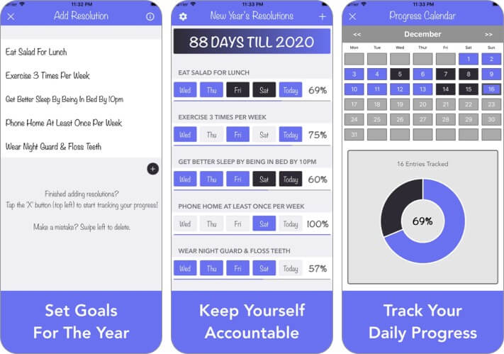 New Year's Resolution Tracker iPhone and iPad App Screenshot