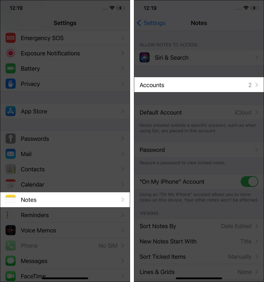 Open Setting app tap Notes then tap Accounts