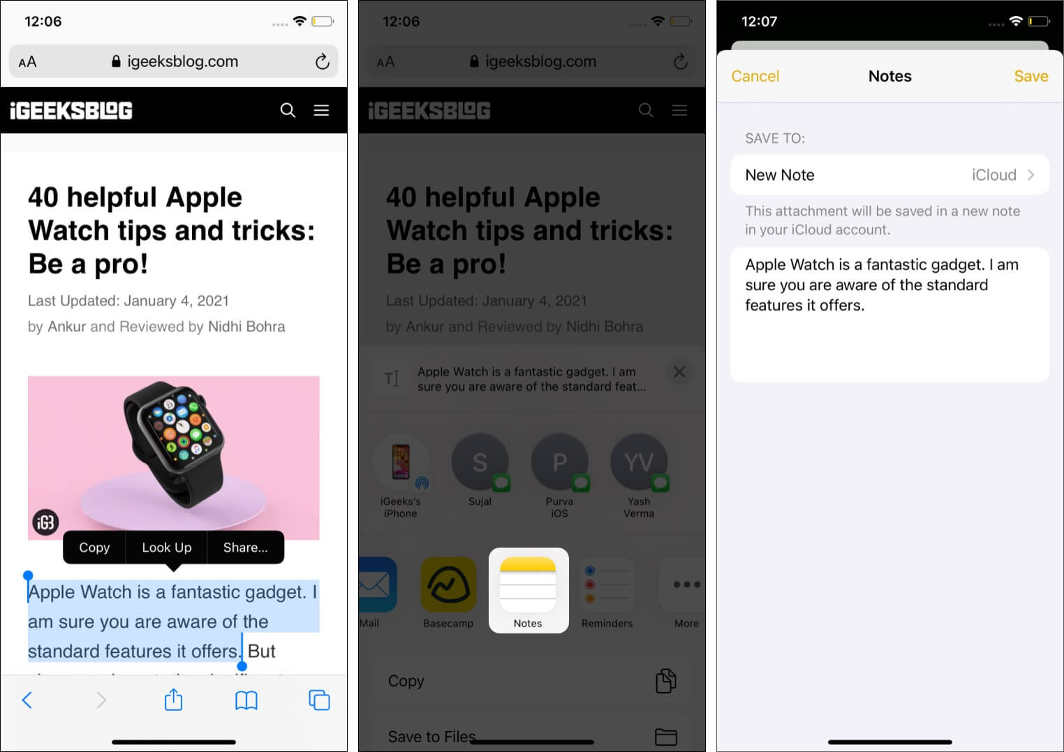 Select Text from Safari and Add it to Notes