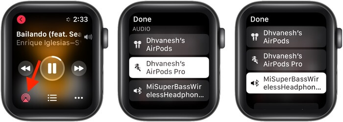 Tap AirPlay icon and choose another Bluetooth device
