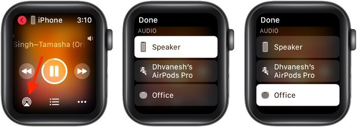 Tap AirPlay icon and select another device like HomePod