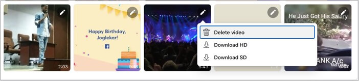 Click edit icon of your preferred Facebook video and select the download type