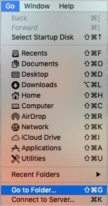 Нажмите «Перейти к папке» из меню Finders на Mac.