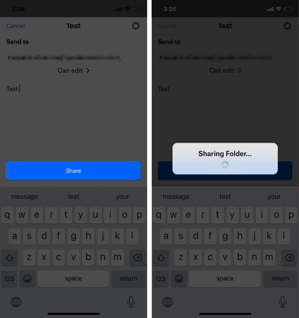 Enter mail ID and tap Share in Dropbox app