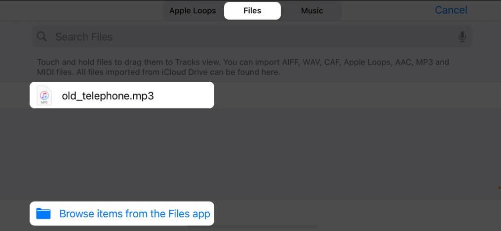 Halten Sie ein Lied einige Sekunden lang gedrückt, um es auf das iPhone zu importieren