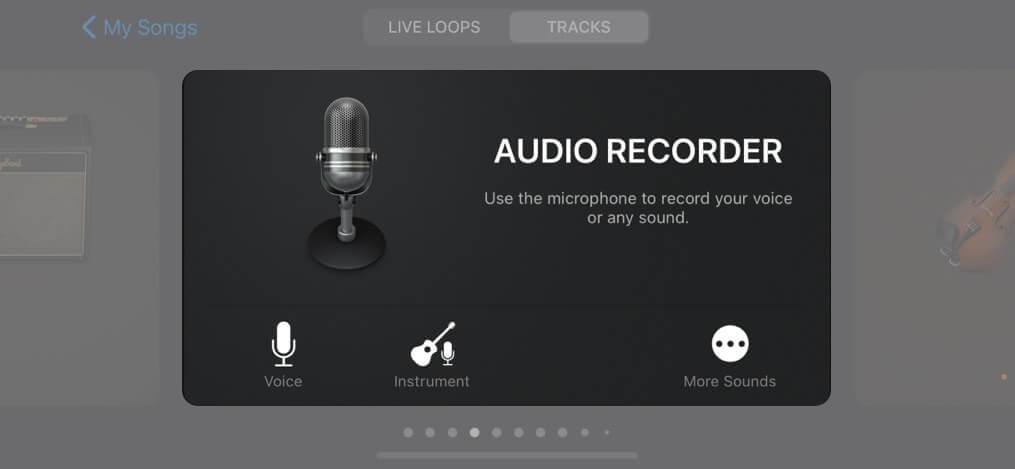 Tippen Sie in der Option Audiorecorder auf Sprache