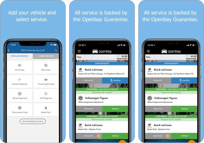 Скриншот приложения для обслуживания автомобилей Openbay iPhone