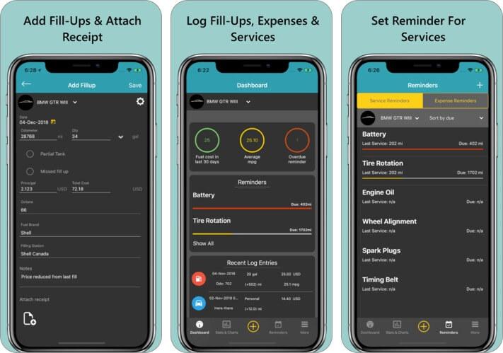 просто автоматический трекер пробега iPhone скриншот приложения для обслуживания автомобилей