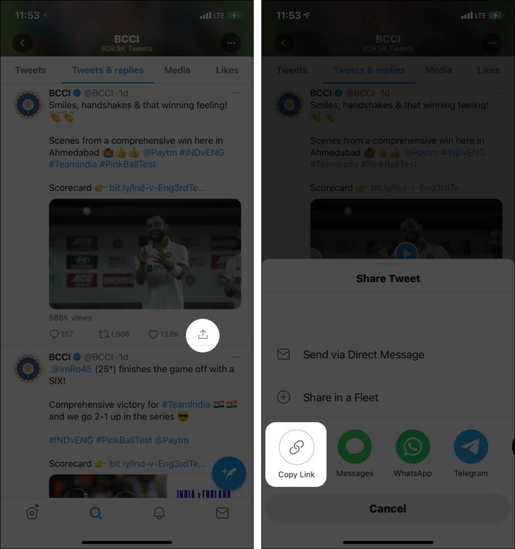 Kopieren Sie den Tweet-Link, indem Sie in der Twitter-App auf das Pfeilsymbol tippen