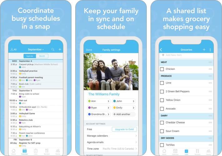 органайзер для семьи cozi, скриншот приложения для iphone и ipad