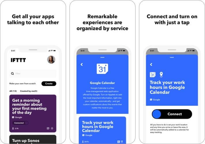 скриншот приложения ifttt для iphone и ipad