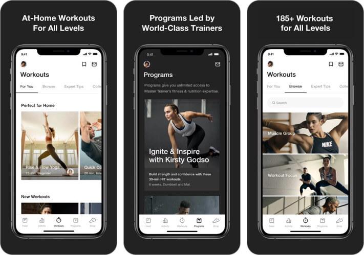 Скриншот приложения Nike Training Club для iphone и ipad для женщин