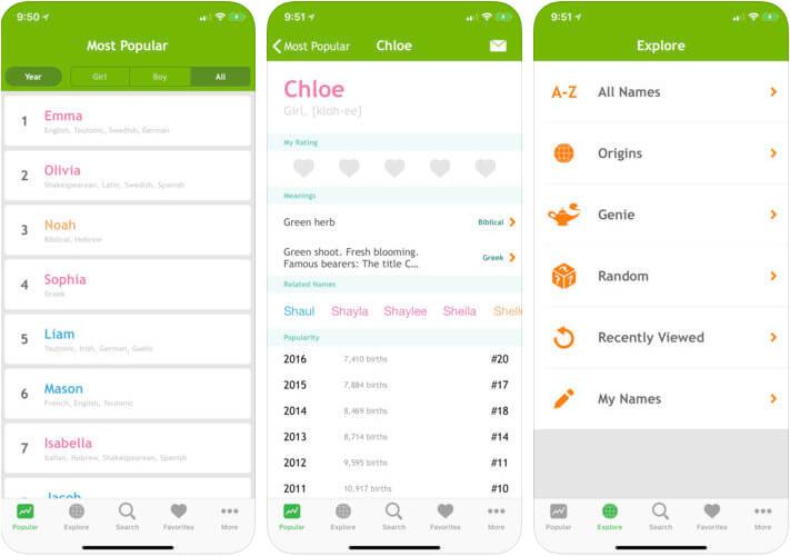 Baby Names iPhone and iPad App Screenshot