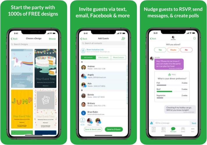 Evite Invitation Card Maker iPhone and iPad App Screenshot