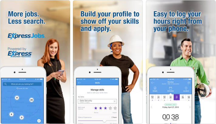 ExpressJobs Search iPhone and iPad App Screenshot