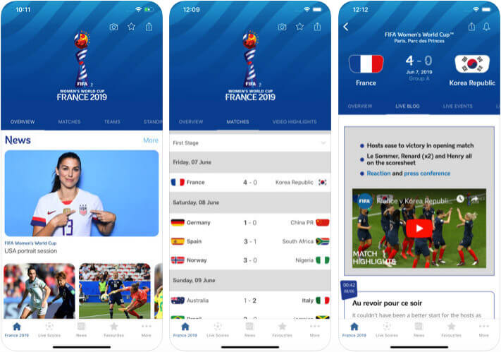 FIFA Women World Cup iPhone and iPad App Screenshot