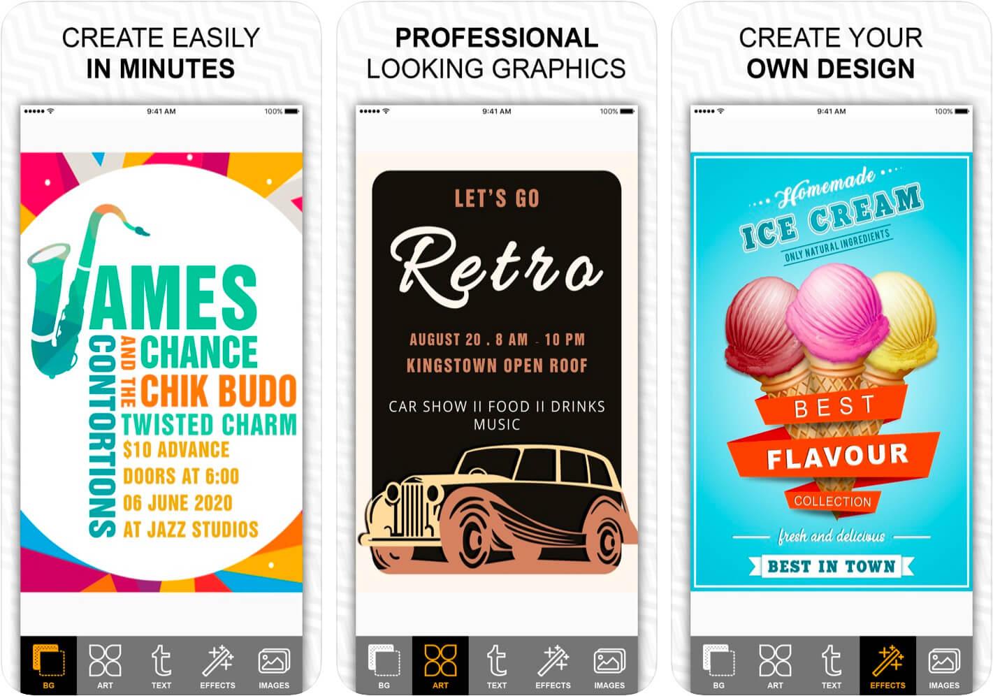 Fab Poster Maker Flyer Designs iPhone and iPad App Screenshot