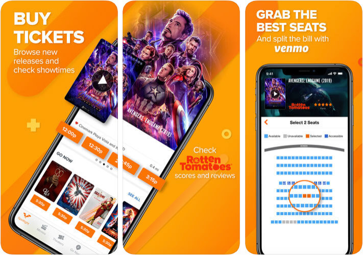 Fandango Movie Tickets Times Apple Pay Support iPhone and iPad App Screenshot