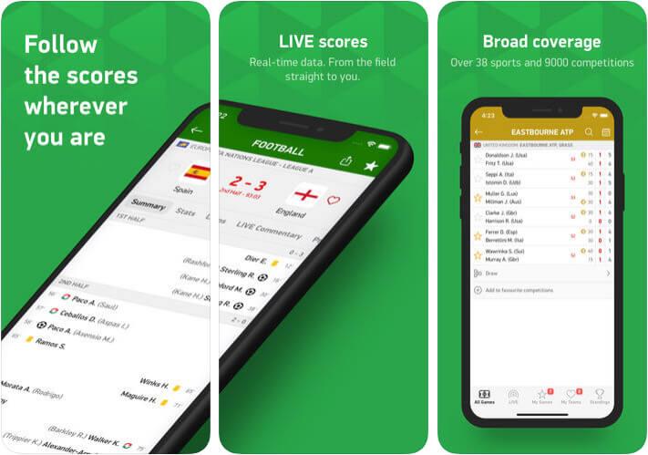 FlashScores Football iPhone and iPad App Screenshot