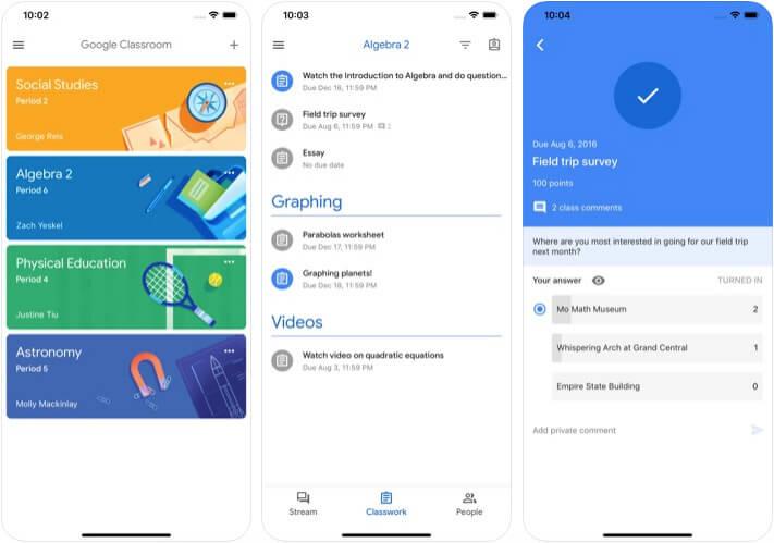 Google Classroom Management iPhone and iPad App Screenshot