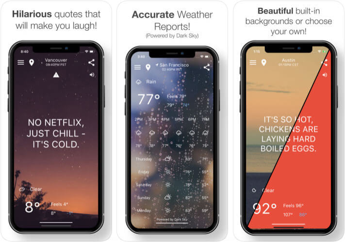 HumorCast Funny Weather iPhone and iPad App Screenshot
