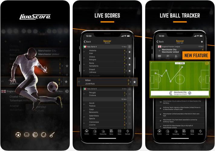 LiveScore Football iPhone and iPad App Screenshot