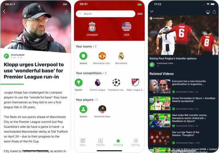 Onefootball Soccer Score iPhone and iPad App Screenshot