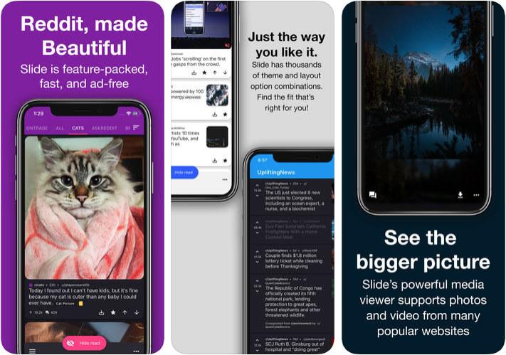 Slide for reddit iPhone and iPad App Screenshot