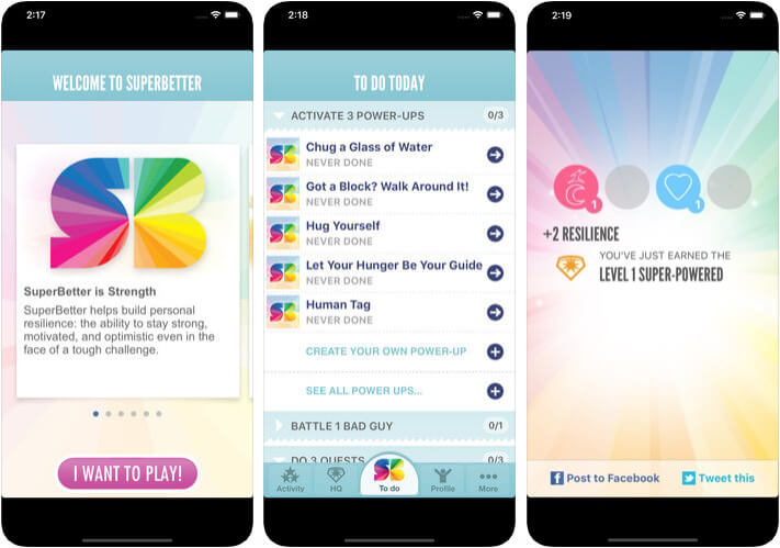 SuperBetter Personality Development iPhone and iPad App Screenshot