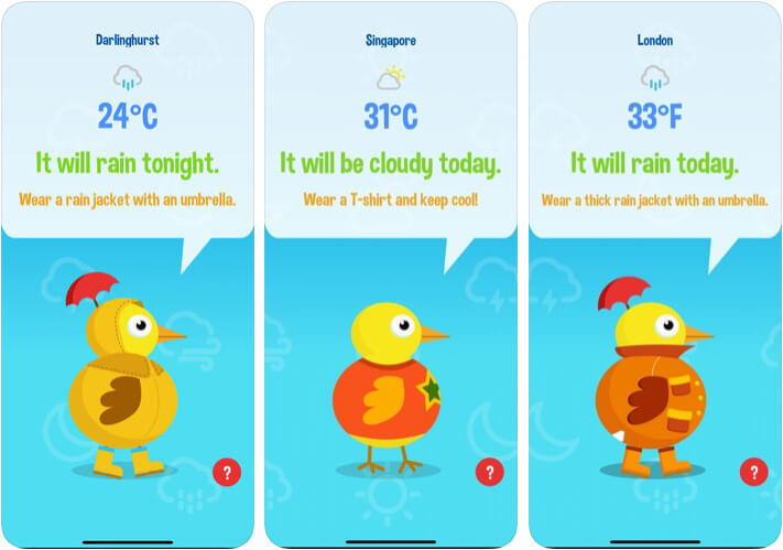 Weather Duck Funny Weather iPhone and iPad App Screenshot