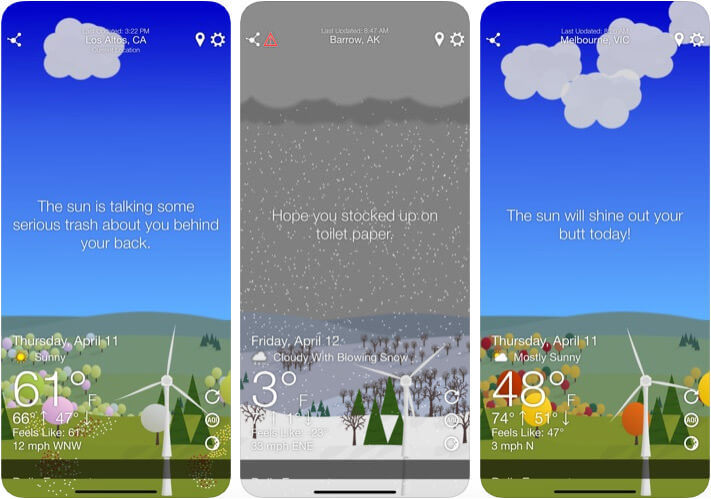 What The Forecast Funny Weather iPhone and iPad App Screenshot