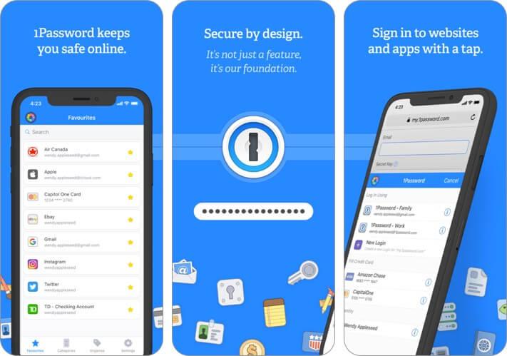 1password password manager iphone app screenshot