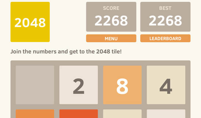 2048 Number iPhone and iPad Game Screenshot