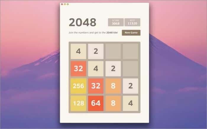 2048 game free mac app screenshot